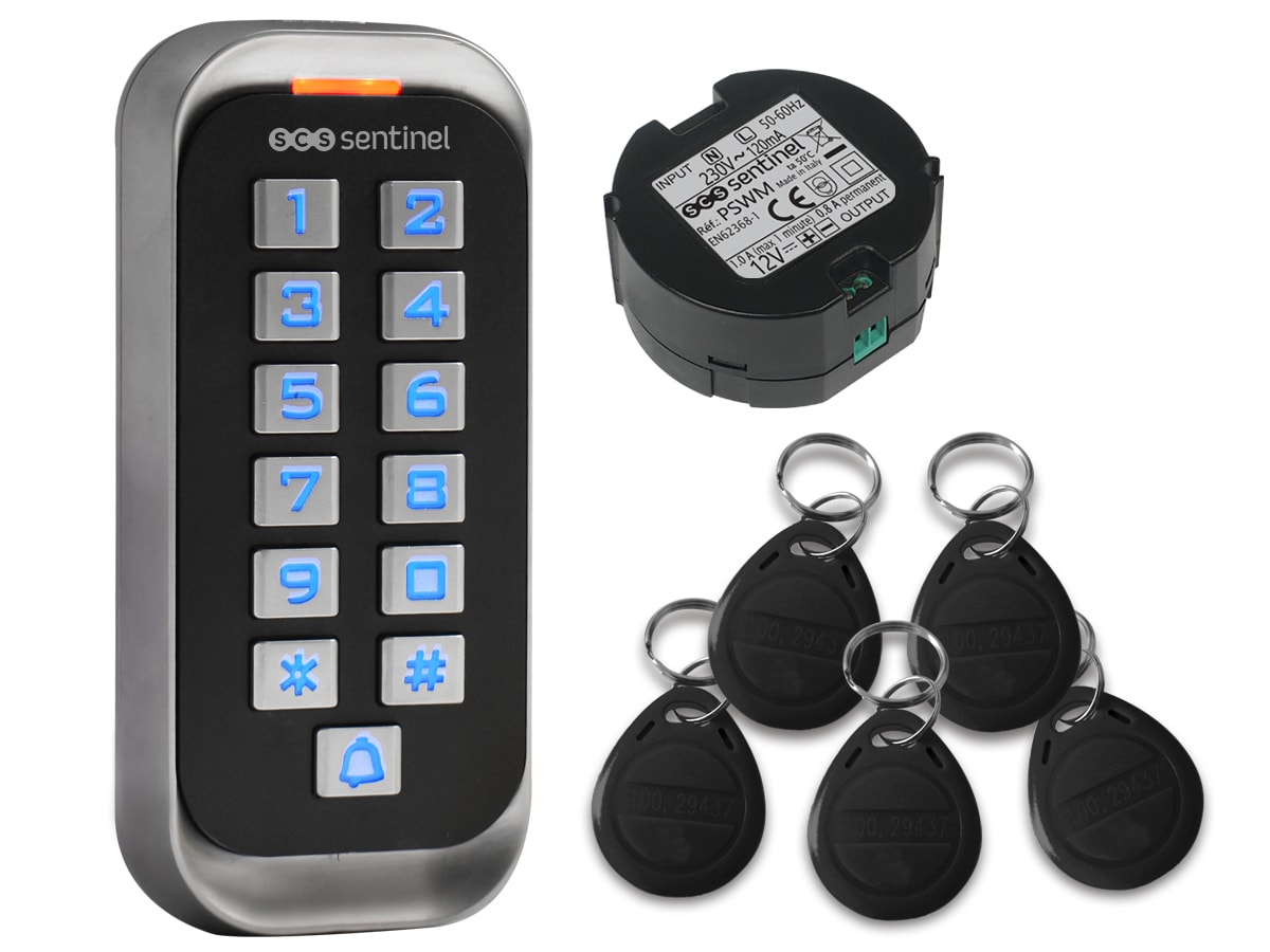 Digicode RFID avec badges et Alimentation, CodeAccess RFID + ALIM PSWM, CodeAccess RFID + ALIM PSWM