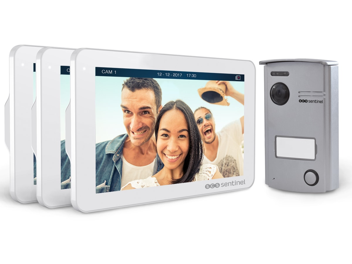 Interphone vidéo VisioDoor 7+, avec 2 moniteurs additionnels, VisioDoor 7+ avec 2 moniteurs add.